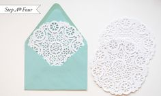 Round doilies as an envelope liner