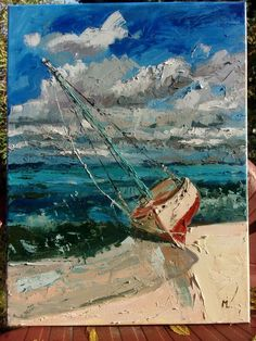 """ LONELY...  "" SHIP BOAT SAIL original painting palette knife GIFT MODERN URBAN ART OFFICE ART DECOR HOME DECOR GIFT IDEA by Monika Luniak"