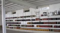 Walls of the Basement of Amish Home. usually line with rows and rows of canned preserves for the coming winter.  ~ Amish Home Inside ~ Sarah's Country Kitchen ~