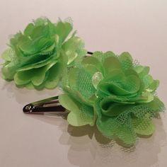 Bright Green Pom Pom Flower Mesh Satin Tulle Hair Snap Clip. on Etsy, $6.00