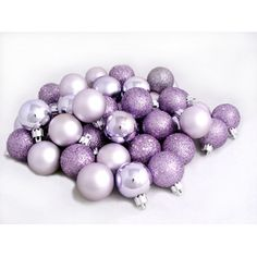32ct Lavender Purple Shatterproof 4-Finish Christmas Ball Ornaments 3.25