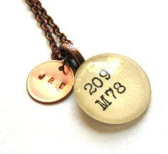 Personalized Monogram Initials Copper Dewey Decimal Vintage Card Catalog Necklace on Etsy, $28.00