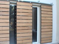 Idea: make sliding shutters Though age-old within idea, your pergola has become Exterior Remodel, Exterior Doors, Sliding Doors, Garage Doors, Shutter Designs, Casa Loft, Shutter Doors, House Windows, Architect Design