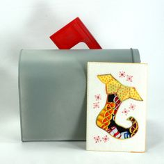 Quilted Fabric Postcard  Christmas Stocking by FabricGreetings, $10.00
