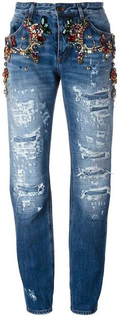 Dolce & Gabbana embellished ripped boyfriend jeans The Italian fashion house's signature luxury denim has been given a glamourous edge for Spring/Summer 2017 and these rhinestone ripped boyfriend jeans from Dolce & Gabbana are a stand-out favourite. In blue cotton, these embellished ripped boyfriend jeans from Dolce & Gabbana feature belt loops, a button & zip fastening, a five pocket design and ripped details.