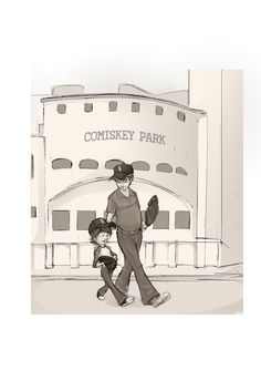 """Page 3 of """"Grandpa is a White Sox Fan, Daddy is a White Sox Fan, I am a White Sox Fan."""" Grandpa and Daddy at Old Comiskey. Illustration by Brent McCarthy  www.chicagosportsmemories.com Chicago White Sox, Fathers Day Gifts, Daddy, Socks, Fan, Reading, Music, Illustration, Word Reading"""