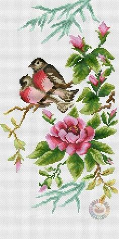 Photo Cross Stitch Bird, Cross Stitch Flowers, Cross Stitch Designs, Cross Stitching, Cross Stitch Patterns, Embroidery Patterns Free, Embroidery Designs, Ribbon Embroidery, Cross Stitch Embroidery