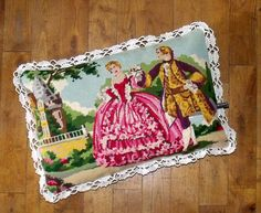 French Silk Vintage Tapestry Needlepoint Chateau by Retrocollects, £35.00