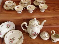 Rosenthal Pompadour Coffee Set Moss Rose by YellowBrickRoadshow, $450.00