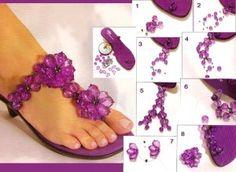diy flip flops glittering lilac beads embellished flowers