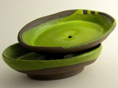 "Soap dishes, ""Chocolate-lime"" series (brown clay, yellow green glaze). Ceramics by Studio Saskia Lauth / France - www.saskia-lauth.com"