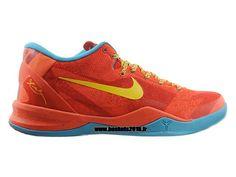 Kobe 8 Low Chaussure de basket-ball pour Homme Nike Officiel Orange-rouge - jaune - noir