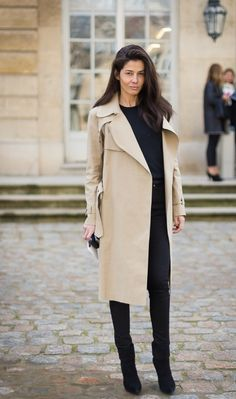 Parisian Chic street style, camel trench and black