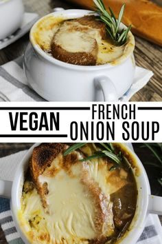 Chilly weather calls for hearty and belly-warming soups. And this Vegan French Onion Soup will do the trick very nicely! Each spoonful is loaded with savory flavors from the caramelized onions, flavorful broth, and gooey cheese! #veganhuggs #vegansoup #heartymeals Chili Recipes, Veggie Recipes, Soup Recipes, Vegetarian Recipes, Vegan Soups, Vegan Dishes, Vegan French Onion Soup, Vegan Lunches, Chilly Weather