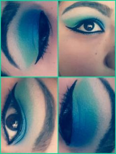 Blue and green makeup