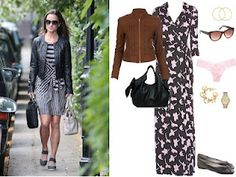 Leather jacket over Diane von Furstenberg printed maxi dress.