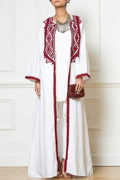 Maxi White Embellished Kimono - Elevate simple outfits with our Maxi White Embellished Kimono, embroidered with Afghan-inspired patterns in deep warm red colour. Modest Wear, Modest Dresses, Modest Outfits, Simple Outfits, Maxi Outfits, Abaya Fashion, Muslim Fashion, Modest Fashion, Mode Abaya