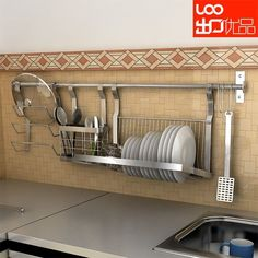 Cheap rack, Buy Quality rack kitchen directly from China rack enclosure Suppliers: wall-mounted stainless steel dish rack shelf chopsticks tube pot rack combination Kitchen Shelves, Diy Kitchen, Kitchen Storage, Kitchen Decor, Kitchen Grey, Kitchen Racks, Kitchen Yellow, Lemon Kitchen, Country Kitchen