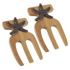 Salad Hands Bamboo With Starfish Accent - North Breeze Kitchen Items, Kitchen Gadgets, Flatware Storage, Coastal Wall Art, Gadgets And Gizmos, Salad Bowls, Starfish, Serving Bowls, Bamboo