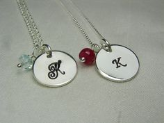 """Blending families? These would be great gifts for the young ladies in your lives for """"Family Vows""""  Personalized Necklace  Set of 3  Bridesmaid by MesmericJewelry, $72.90"""