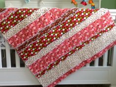 Rag Quilt Floral Dots Rose Mauve Brown by ShellySQuiltsandMore