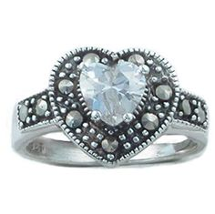 Pretty Heart Shaped Diamond Cz & Marcasite Silver Dress Ring