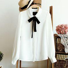 Primavera Moda feminina elegante laço branco blusas de Chiffon peter pan colarinho casuais camisa Das Senhoras tops blusa escola Mulheres