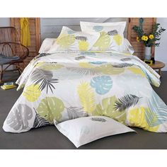Taie d'oreiller ou traversin feuillage tropical BECQUET - Imprimé- Vue 1