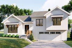 This split-level house plan has an attractive modern farmhouse exterior with board and batten siding and shed roof protection over two sets of windows.Inside, the family has a large cathedral ceiling Ranch Exterior, Modern Farmhouse Exterior, Exterior Remodel, Farmhouse Plans, Farmhouse Decor, Farmhouse Style, Craftsman Farmhouse, Tri Level House, Split Level House Plans