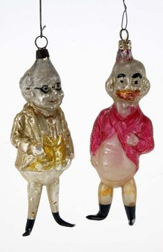 """Comic Character Figural Ornaments painted and molded glass figures of Foxy Grandpa and Happy Hooligan appr. 4.75"""" t. each"""