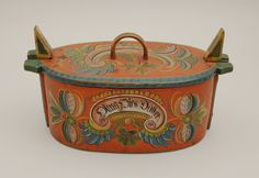 Bentwood box with Os style rosemaling. Box was brought from Voss, Norway in 1885 by Martah Nikolaisdatter Kine