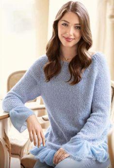 Спицами свободный пуловер с воланами на рукавах фото к описанию