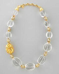 Rock Crystal Bead Scroll Necklace by Jose & Maria Barrera at Neiman Marcus.
