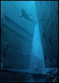 Underwater Ruins, Raphael Lacoste on ArtStation at https://www.artstation.com/artwork/B41N8