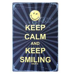 Keep Calm and Keep Smiling Metal Sign