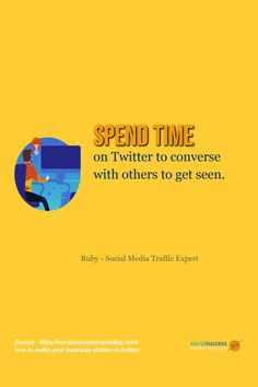 Spend time on Twitter to converse with others to get seen. #TwitterTip #SocialMediaWebTraffic #socialmediaoptimization #localbusiness Twitter For Business, Twitter Tips, Converse, Success, Social Media, How To Get, Make It Yourself, Marketing, Social Networks