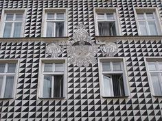 Krakow Florianska 47 sgraffito - Sgraffito - Wikipedia, the free encyclopedia Sgraffito, Facade Pattern, Giorgio Vasari, Modern Gothic, Streamline Moderne, Brick Flooring, Floors, Outline Drawings, Facade Architecture