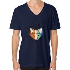 Colored geometric native fox art V-Neck (on man)