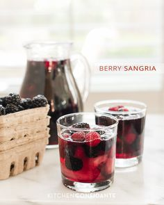 Berry Sangria. Relax & enjoy the upcoming US Independence weekend with this berry beverage (substitute the wine with ginger ale for a nonalcoholic version) #TastyTuesday