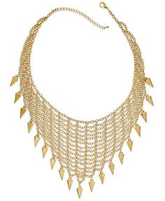 Bar III Gold-Tone Mesh Bib and Spike Frontal Necklace