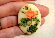 Cabochon  2 RARE Early Glass Floral by bansheehouseofmake on Etsy, $4.25