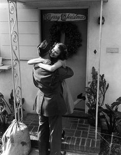 Soldier coming home for Christmas, 1940s