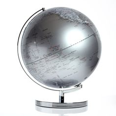 "This would be perfect way to track all the places we will go - Globe Light 17"" Dark Silver"