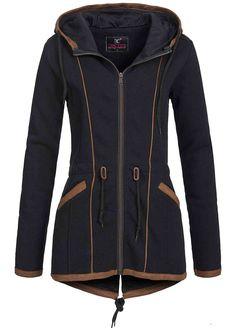 Damen jacke blau braun