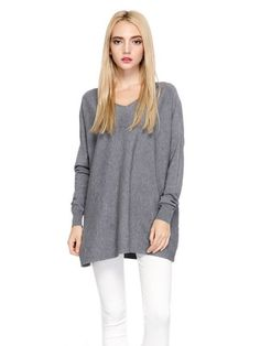 Casual Women Loose V Neck Pure Color Long Sleeve Blouse