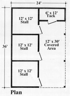 """Glenwood f/p Make last stall and """"tack"""" into one room and that be feed and tack room. 2 stall barn by amparo Horse Shed, Horse Barn Plans, Barn Stalls, Horse Stalls, Dream Stables, Dream Barn, Small Horse Barns, Barn Layout, Farm Plans"""