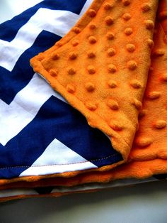 Navy Chevron and Orange Minky and Cotton by BrookeVanGoryDesigns, $34.99