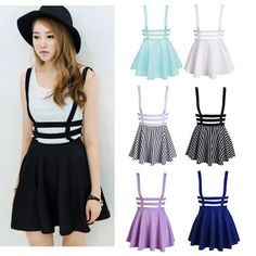 Women Sexy Pleated Suspender Skirt Braces Hollow Out Bandage Mini Skater dress