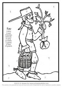 This charming Johnny Appleseed coloring sheet celebrates an