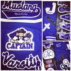 Bling glitter patches letterman jacket follow them on Instagram @somethingstocheerabout